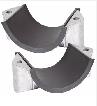 Aluminium 2A-L Range Two Bolt Cable Cleats, with cable liner